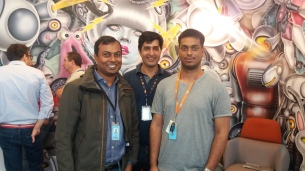 With Sriram (left) and Atul at the Amazon ML workshop, Berlin, 2016.