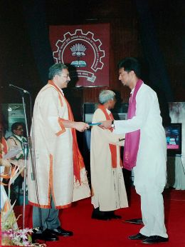 Receiving degree at IIT Bombay, 2010.