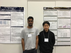 With Hiroyuki at optimization for machine learning workshop in NIPS 2015. Our posters are visible in the background.