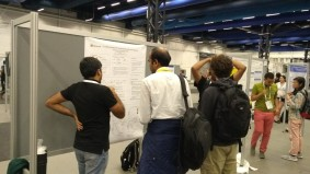 Pratik explaining the poster at ICML 2018