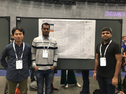 With Hiroyuki and Pratik at poster presentation @ ICML 2019